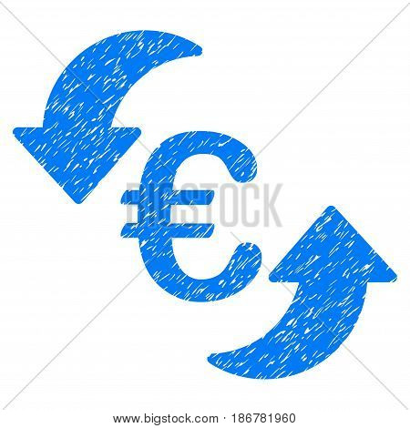 Grunge Euro Update Arrows icon with grunge design and dirty texture. Unclean vector blue pictogram for rubber seal stamp imitations and watermarks. Draft emblem symbol.