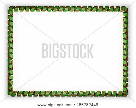 Frame and border of ribbon with the Zambia flag edging from the golden rope. 3d illustration