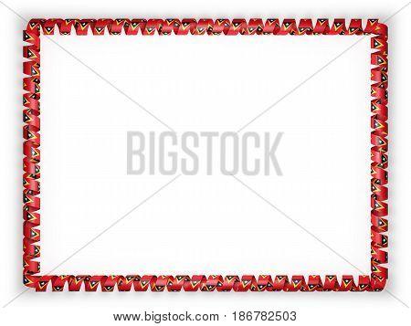 Frame and border of ribbon with the Timor Leste flag. 3d illustration