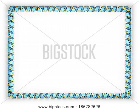 Frame and border of ribbon with the Saint Lucia flag edging from the golden rope. 3d illustration
