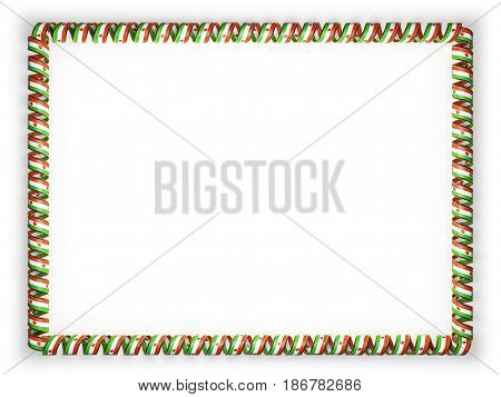 Frame and border of ribbon with the Niger flag edging from the golden rope. 3d illustration