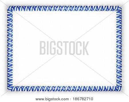 Frame and border of ribbon with the Nicaragua flag. 3d illustration