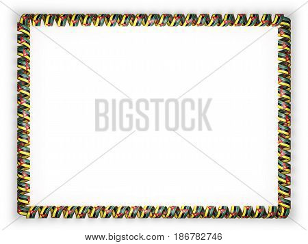 Frame and border of ribbon with the Mozambique flag edging from the golden rope. 3d illustration