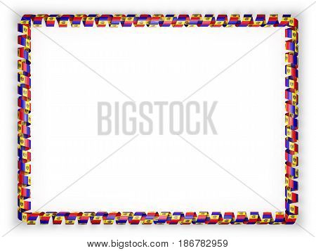 Frame and border of ribbon with the Moldova flag. 3d illustration