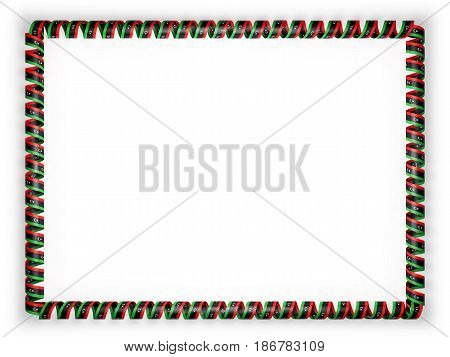 Frame and border of ribbon with the Liberia flag. 3d illustration