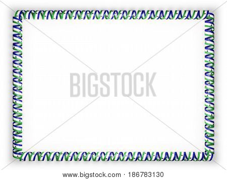 Frame and border of ribbon with the Lesotho flag. 3d illustration