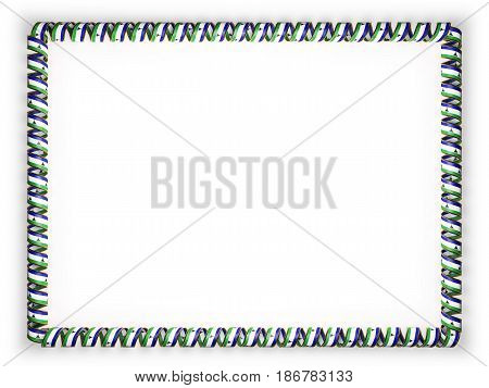 Frame and border of ribbon with the Lesotho flag edging from the golden rope. 3d illustration