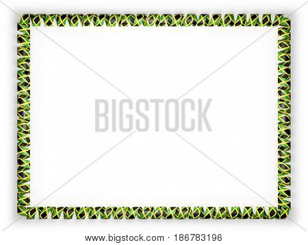 Frame and border of ribbon with the Jamaica flag. 3d illustration