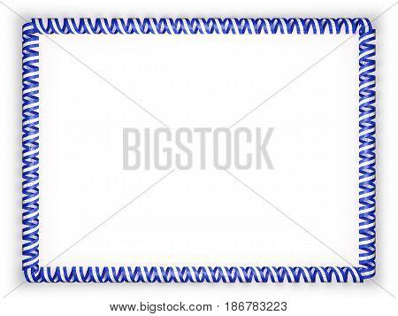 Frame and border of ribbon with the Honduras flag. 3d illustration