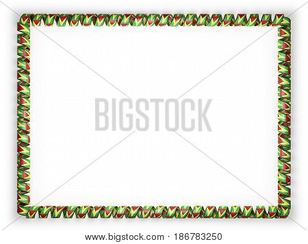 Frame and border of ribbon with the Guyana flag. 3d illustration