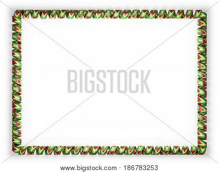 Frame and border of ribbon with the Guyana flag edging from the golden rope. 3d illustration