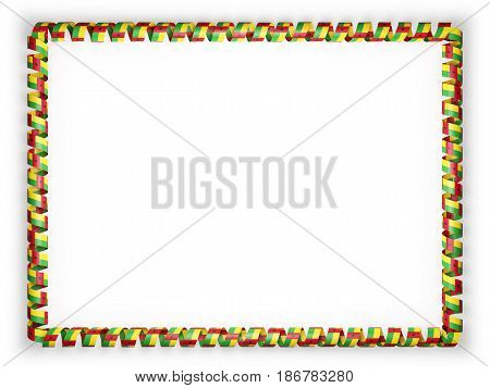 Frame and border of ribbon with the Guinea Bissau flag. 3d illustration
