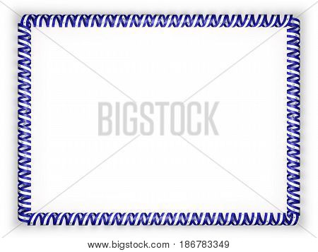 Frame and border of ribbon with the El Salvador flag. 3d illustration