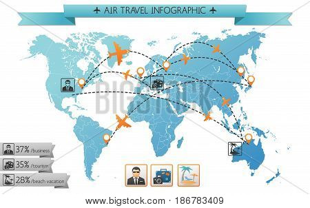 Summer travel infographic template with world map different air routes businessman beach bag and camera icons vector illustration