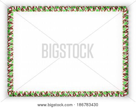 Frame and border of ribbon with the Burundi flag edging from the golden rope. 3d illustration