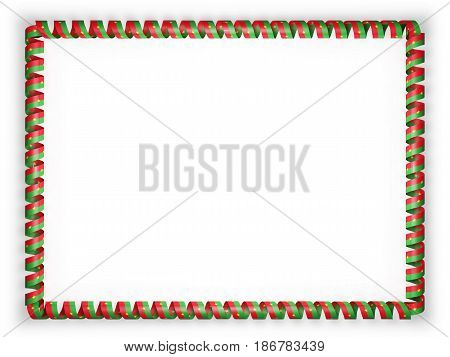 Frame and border of ribbon with the Burkina Faso flag. 3d illustration