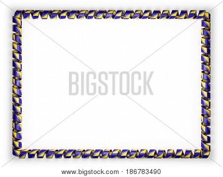 Frame and border of ribbon with the Bosnia and Herzegovina flag edging from the golden rope. 3d illustration