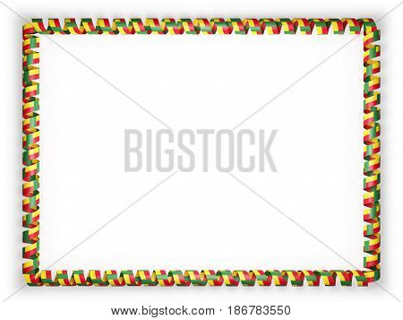Frame and border of ribbon with the Benin flag. 3d illustration