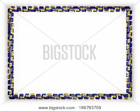 Frame and border of ribbon with the Barbados flag. 3d illustration