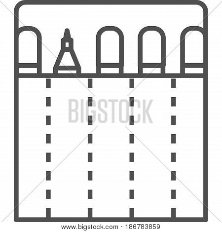 Simple artistic and hobby Vector line artIcon. Bag with markers for drawing outside. line art style icon. 48x48 Pixel Perfect.