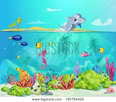 Cartoon sea life template with dolphin seahorse fishes shells marine plants on tropical beach landscape vector illustration