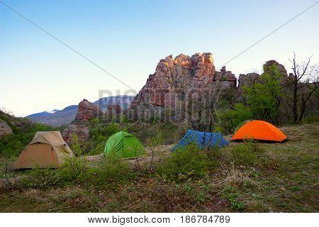 Tents At The Foot Of Belogradchik Rocks - A Landmark In Bulgaria, Eastern Europe