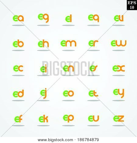 Initial letter E compilation from A to Z lowercase logo design template colorful