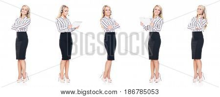 Set young, confident and beautiful customer support operator with isolated on white. Occupation, career, job concept.