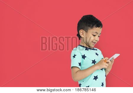 Little Boy Holding Phone Concept
