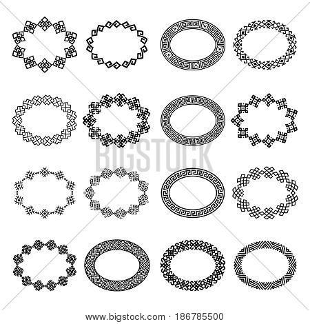Decoration elements patterns in big pack. Mega set of 16 the most popular ethnic Greek ellipse frames. Monochromatic oval borders in huge collection. Isolated on white background. Vector illustration