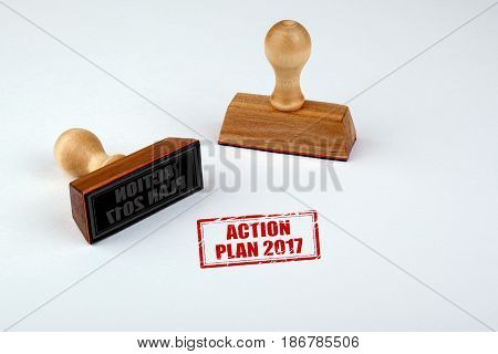 Action Plan 2017. Rubber Stamper with Wooden handle Isolated on White Background.