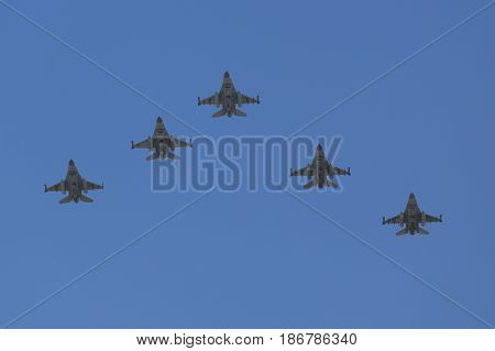 BEER SHEBA, ISRAEL - MAY 2, 2017: F-16C/D Fighting Falcon supersonic multirole fighter aircraft during Israel's Annual Independence Day Air Force Flyover in Beer Sheba
