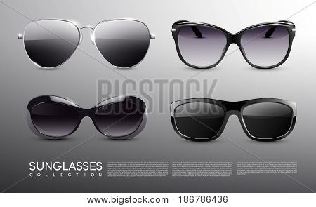 Realistic fashionable sunglasses set of different shapes with metal and plastic rims isolated vector illustration