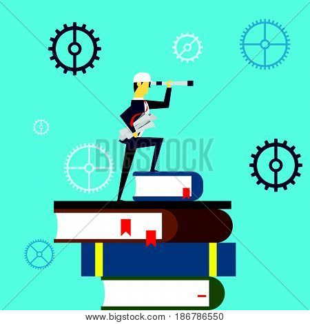 Planning work. Businessman lurking from a distance and standing on a book. Concept business vector illustration.