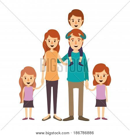 colorful image caricature big family parents with boy on his back and daugthers taken hands vector illustration