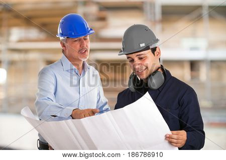 Portrait of workers in a construction site