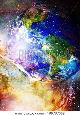 Planet Earth in cosmic space Cosmic Space background