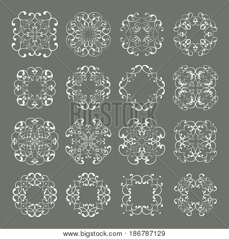 Mega set collections of ornamental lacy designs. Vintage abstract white elements isolated on grey background. Vector illustration. Can use for monogram logo and badge templates