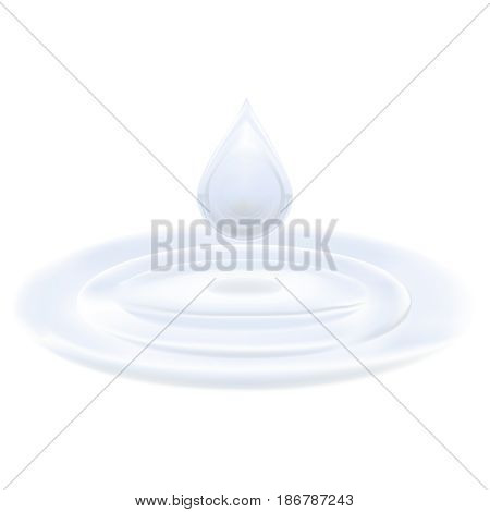 vector realistic isolated cream drop on white background