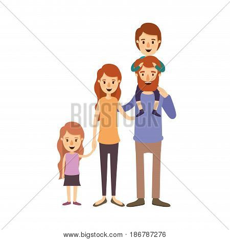 colorful image caricature big family parents with boy on his back and daugther taken hands vector illustration