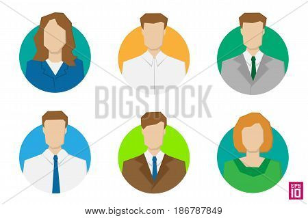 Vector colorful men and women rectangle avatars. Business styled persons with strict dress code.