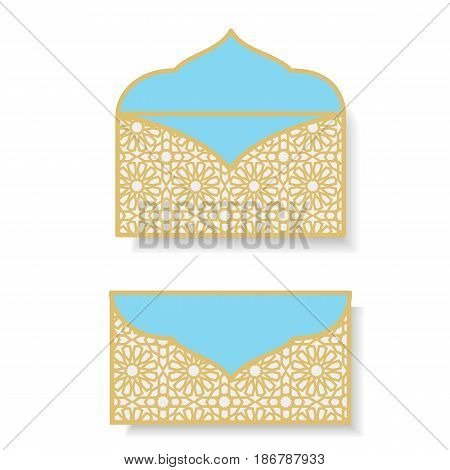 Eid Gift Eid money envelopes eid money packet. Laser cut Eid Money Holder Eid Mubarak card Money Envelope template Gift for Eid Islamic pattern.