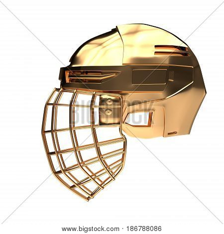 Golden Ice Hockey Helmet. Side view. Competition equipment. Template 3D render illustration. Isolated on a white background.