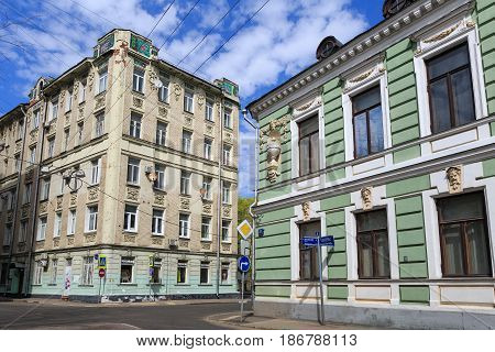 MOSCOW/ RUSSIA - MAY 2, 2017. Old houses on Podsosensky-lane: The former mainsion of V. E. Morozov (built 1878) and the former profitable house (built 1910). Moscow, Russia