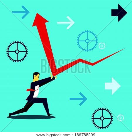 Standing survive. Businessmen and deflect upwards survive the financial downturn. Concept business vector illustration.