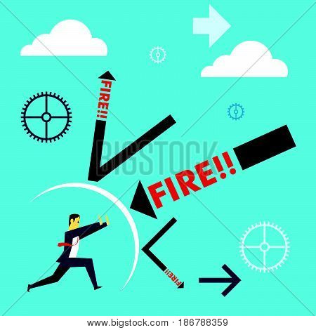Standing survive. Businessmen survive dismissal withstand attacks. Concept business vector illustration.