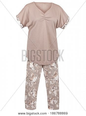Women's pajamas with floral print, isolated on white