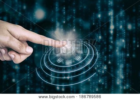Human hand pointing on white background against digitally generated image of volume knob with digital interface
