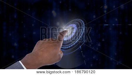 Hand pointing finger against digitally generated black and blue matrix