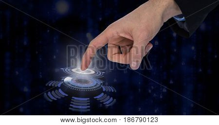 Businessman gesturing against digitally generated black and blue matrix
